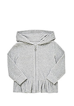 F&F Velour Peplum Hem Hoodie - Grey