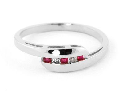 QP Jewellers Ruby & SI-1 Diamond Channel Set Embrace Eternity Ring in 14K White Gold - Size J 1/2