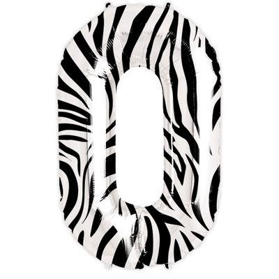 Zebra Number 0 Balloon - 34 inch Foil
