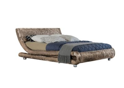 Comfy Living 4ft6 Double Crushed Velvet Curved Bed Frame in Truffle with Damask Orthopaedic Mattress