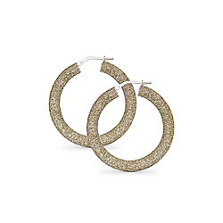 Jewelco London Rhodium Coated Sterling Silver CZ Candy style Crushed Ice Hoop Earrings - Champagne