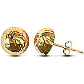 Jewelco London 9ct Yellow Gold Diamond Cut Half Ball Studs