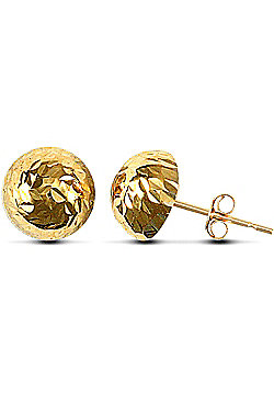 Jewelco London 9ct Yellow Gold Diamond Cut Half Ball Studs