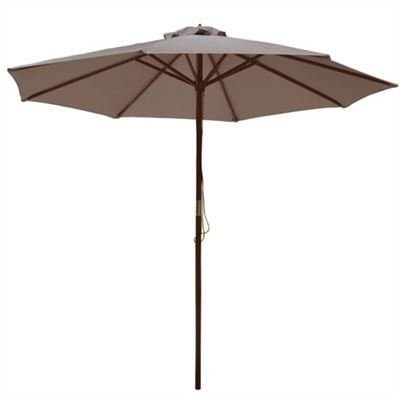 Palm Springs 2.7M Wooden Garden Parasol Umbrella Tan