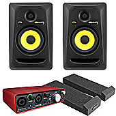 KRK RP5 Pair, Focusrite Scarlett 2i2 Audio Interface, Monitor Isolation Pads, And JB's Leads Studio Monitor Pack