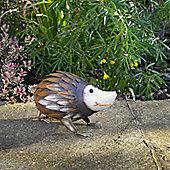Kingfisher Painted Metal Hedgehog Garden Ornament