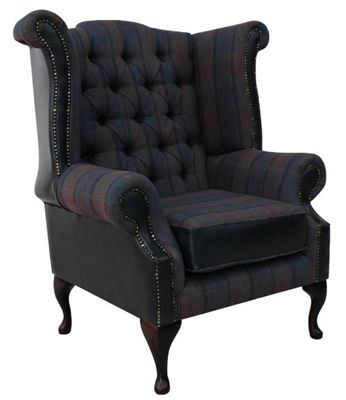 Chesterfield Queen Anne High Back Wing Chair Lewis Check Plum Antique Blue Leather