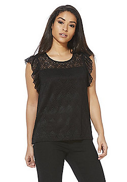 Vero Moda Sleeveless Lace Top - Black
