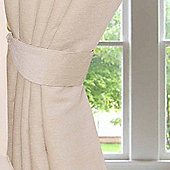 Homescapes Cream Chenille Curtains Tie Backs Pair