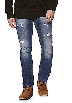 F&F Distressed Slim Leg Jeans - Mid wash