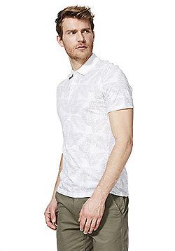 F&F Palm Print Polo Shirt - Grey