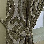 Homescapes Green Jacquard Curtain Tie Back Pair Abstract Ikat Design