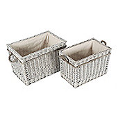 Homescapes Set of 2 Grey Willow Wicker Rectangular Storage Log Baskets with White Lining and Handles