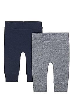 F&F 2 Pack of Cuffed Joggers - Navy & Grey