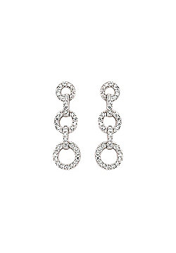 Rhodium Coated Sterling Silver CZ Micro-Pave Drop Earrings