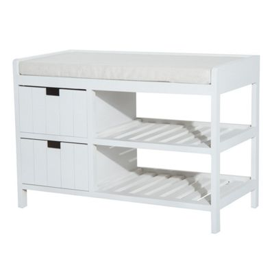 Homcom Wooden Hallway Shoe Rack 2 Tier Storage Seat Unit w/ Drawers