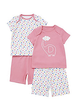 F&F 2 Pack of Elephant and Heart Print Pyjamas - Pink & Multi