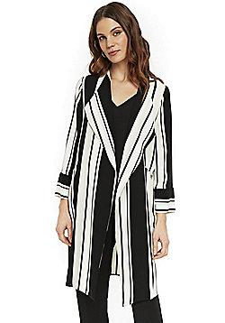 Wallis Striped Duster Jacket - White & Black