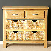 London Oak Console Table with Baskets - Lacquer Finish