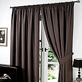 "Dreamscene Pair Thermal Blackout Pencil Pleat Curtains, Chocolate - 66"" x 90"" (167x228cm)"