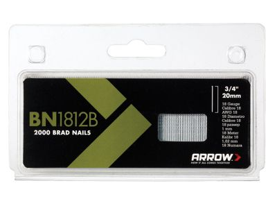 Arrow BN1812B Head Brad/ Nails 20mm Brown Pack 2000