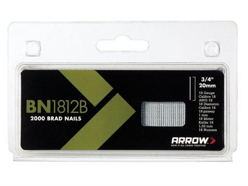 Arrow BN1812B Head Brad/ Nails 20mm Brown Pack 2000