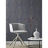 Sparkling Glitter Linear Leaf Wallpaper Blue / Silver Rasch 523447