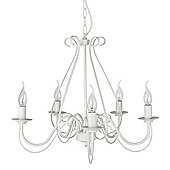 Modern Five Way Chandelier Ceiling Light Fitting, Porcelain White