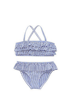 F&F Striped Ruffled Bikini Set - Blue & White