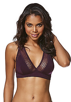 F&F Signature Lace Trim Long Line Non-Wired Bralet - Plum