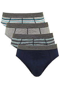 F&F 4 Pack of Striped and Plain Slips with As New Technology - Blue & Grey