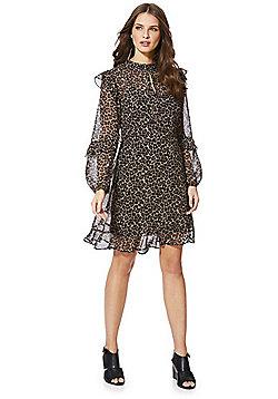 F&F Leopard Print Ruffle Chiffon Dress - Multi