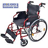 Aidapt Deluxe Lightweight Self Propelled Aluminium Wheelchair in Red