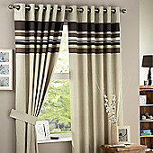 Curtina Harvard Chocolate Eyelet Lined Curtains 66x90 inches (168x229cm)