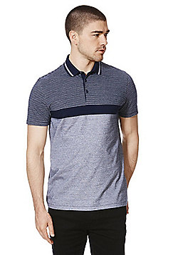 F&F Block Stripe Polo Shirt - Blue