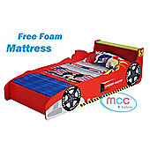 Toddler Bed Cars Speed Kids Junior Bed with Luxury Foam Mattress Made in UK