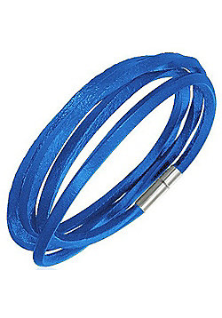 Urban Male Blue Leather Cord Style Wrap Bracelet