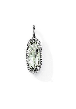 Jewelco London 9ct White Gold - Diamond & Green Amethyst - Charm Pendant -