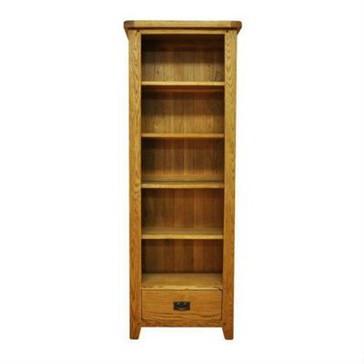 Cambridge Petite Rustic Oak Large Narrow Bookcase with Drawer