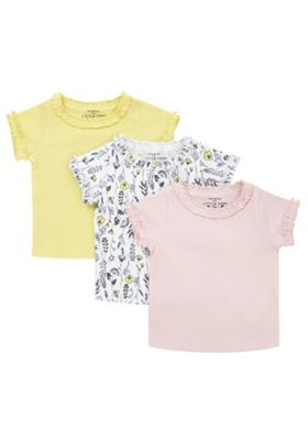 F&F 3 Pack of Plain and Floral Print Frill Trim T-Shirts Multi 0-1 months