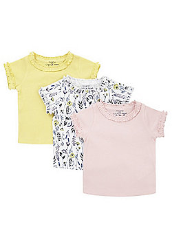 F&F 3 Pack of Plain and Floral Print Frill Trim T-Shirts - Multi