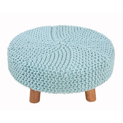 Homescapes Cotton Baby Blue Knitted Flat Circular Footstool