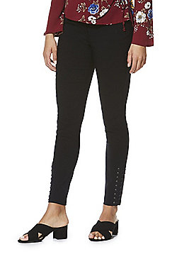 F&F Lace-Up Ankle Bengaline Skinny Trousers - Black