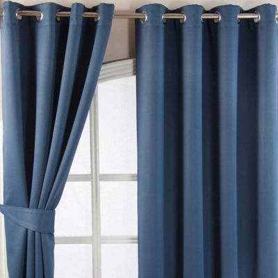 Homescapes Navy Blue Herringbone Chevron Blackout Curtains Eyelet Style 46x54