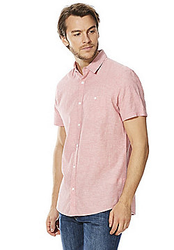 F&F Linen-Blend Short Sleeve Shirt - Pink