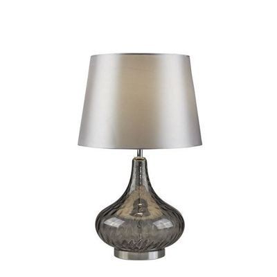 CANTATA SMOKEY GLASS TABLE LAMP, GREY SHADE