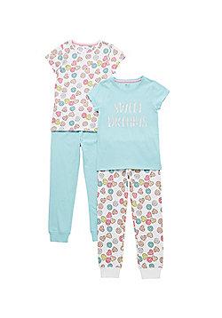 F&F 2 Pack of Doughnut Print Pyjamas - Multi