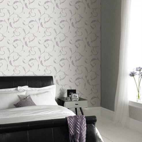 Superfresco Athena Scroll Linen Textured Heather Wallpaper