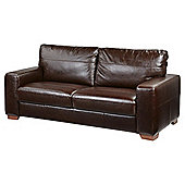 Abbott Large 3 Seater Leather Sofa, Chocolate Brown