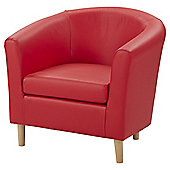 Faux Leather Tub Chair - Red